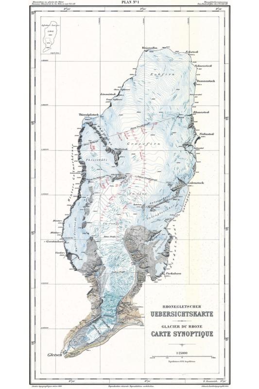 Synoptic map of the Rhône Glacier 1:25000